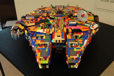 Rainbow Colored LEGO Millennium Falcon Built from Scratch
