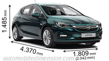 Dimensions of Opel / Vauxhall cars showing length, width