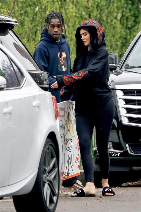 KYLIE JENNER and Travis Scott Outside Travis' House in Los