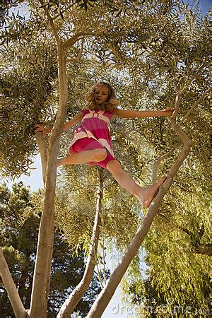 Blonde Girl Climbing High In A Tree Royalty Free Stock